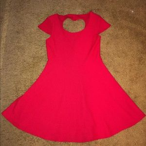 Red Heart Back Cut Out Casual Dress Large 11/13